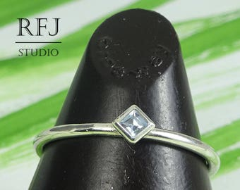 Kite Synthetic Aquamarine Silver Ring, Rhombus Setting Stacker March Birthstone Princess Cut 2x2 mm Light Blue Stone Classic Promise Ring