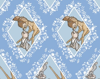 New Disney Bambi Fabric: Camelot Disney Bambi power of friendship Thumper Rabbit Diamonds Blue 100% Cotton Fabric by the yard (CA303)