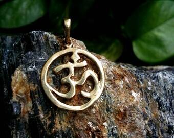 Tiny Om pendent, boho jewelry, Brass pendent. Tribal pendent, Boho pendent. Gypsy pendent, Festival jewelry.