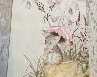 """A mouse in the rain"""" poscard by I L Wallace"""