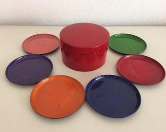 6 coasters in red holder of bakelite melamine 60/70s retro vintage used red