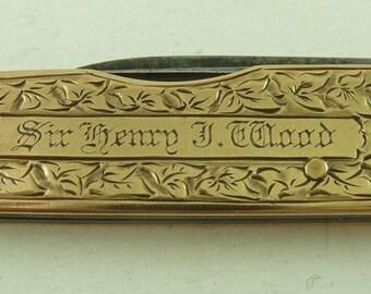 Sir Henry J Wood Conductor 1910 15K Gold Pocket Knife BBC Proms Albert Hall Ibberson Sheffield Antique