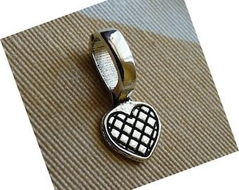 Heart Pendant Bails, Heart Glue on Bails, Antique  Silver tone Metal Pendant Holders, 22x10mm Pendant Bails
