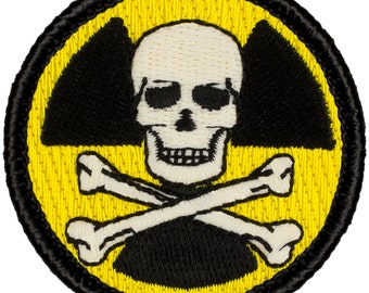 Glow-in-the-Dark! Nuclear Pirate Patch (657) 2 Inch Diameter Embroidered Patch