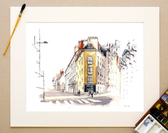 Watercolor Nantes - Shoemaker - signed reproduction and appear