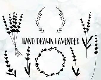 Lavender SVG - Cuttable Design and Frame SVG, DXF, eps - Lavender wreath - Silhouette Studio & Cricut files - Floral svg - Lavender vector