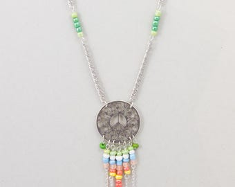 """Necklace Springtime Ethnic """"Peace And Love"""""""