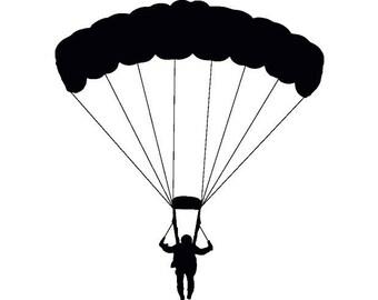Parachuting Parachute Skydiving Skydiver Skydive Sky Dive Jumping .SVG .EPS .PNG Digital Clipart Vector Cricut Cut Cutting Download File