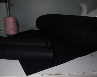 BLACk wool blend felt fabric, cut from bolt, 35% merino  wool/65 rayon