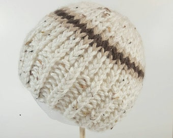 Boy's Knit Beanie. Boy's Neutral Color Hat. Tan with Brown Stripe. Boy's hat, Boy's toque.