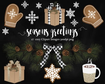 Rustic Christmas Clipart, cookies, pine cone, pine tree, hot coco, gifts, snowflakes, mittens, cozy
