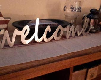 Welcome sign, sanded raw cold rolled stee