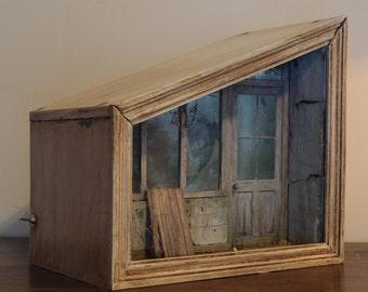 Original handmade miniature model diorama shadow box