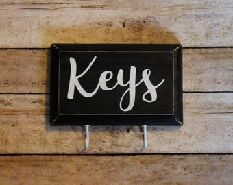 Black and White Key Rack, 2 Hooks, Pine Wood, Made to Order, Rustic Key Rack, His and Hers, Compact, Small Key Rack, Key Hanger