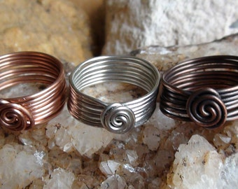 Small Eight Band Swirl Copper Rings
