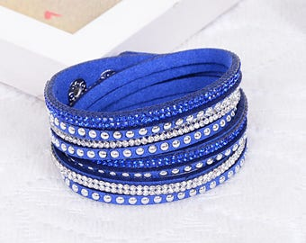 Crystal Swarovski Elements Leather Strap Bracelet Blue