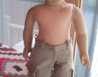 "18""American  Boy Doll Cargo Shorts in Tan Twill With Real Pockets & Belt Loops Pants to Fit Logan and Other Boy Dolls"