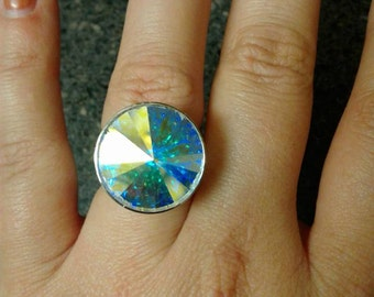 Silver Plated Adjustable Ring with Prism Swarovski Crystal