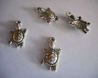 Charms (4) turtle,Silver,tibetan silver, DIY,silver tree,5 Charms,Friendship Charms,sea,sea turtle