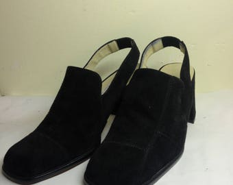 Vintage Italian black suede block heel shoes