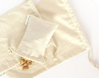 Unbleached Cotton Bulk Bags, Zero Waste Bag, Bulk Pouch