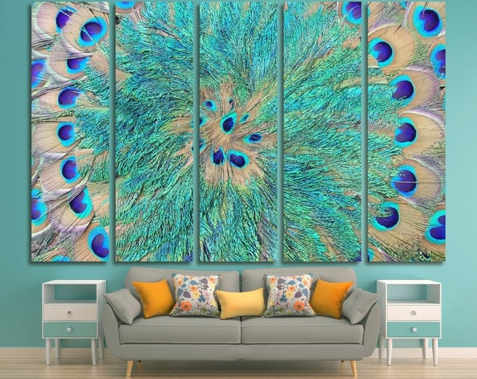 Peacock feathers mandala wall art print set on canvas home decor, teal feathers wall art canvas print abstract home decor, aqua wall art