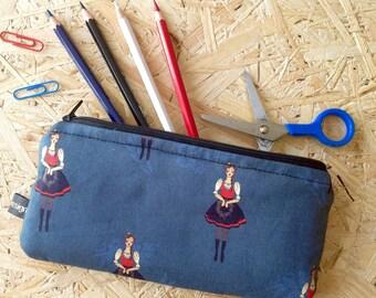 Handmade Klara from Moravia, Czech folklore inspired padded zip case, pencil case, make up bag, camera case, phone holder