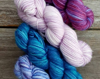 Hand Dyed Sock Yarn on BLISS 75/25 Merino Nylon YARNLINGS 4 pack Mini Skeins Australian Handdyed