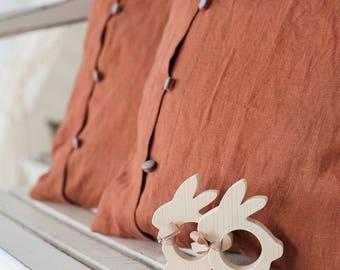 Decorative pillow - linen cushion cover - chair pillow - throw pillow shams - orange pillow case - orange throw pillow - accent pillow cover