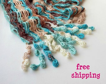 Crochet lace scarf, Made to order, Turquoise scarf, Brown knit scarf, Blue knit scarf, Knitting scarf, Lace knit scarf, Striped knit scarf.