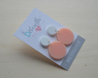 Baby Pink Round Dangly Earrings