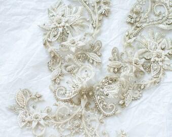 Made to order!!! HANDMADE rhinestone embellishment - Rhinestone Appliqué - Beaded Necklace