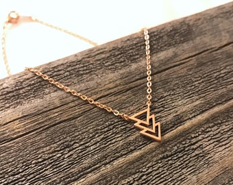Matte rose gold triple triangle necklace