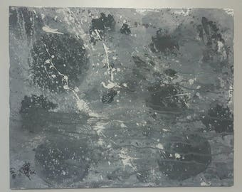 Canvas art 16x20 grey and white abstract - Black eye