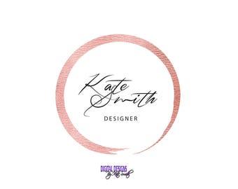 Premade Logo Design, Business Logo / Branding, Rose Gold Circle, Modern Elegant Logo, Graphic Design.