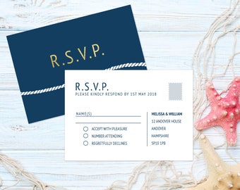Navy wedding rsvp cards, nautical wedding response cards, navy postcard rsvp cards, printed RSVP cards, blue wedding invitations UK, A6