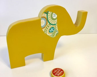Wood elephant, Mustard Yellow