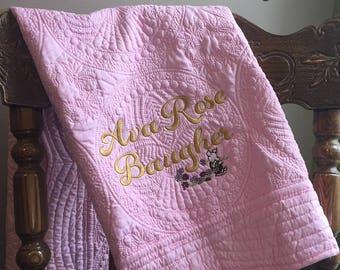 Heirloom Baby Quilt, Pink Embroirdered Quilt, Monogrammed Quilt, Personalized Quilt, Lap Quilt, Keepsake Blanket, Cotton Baby Blanket