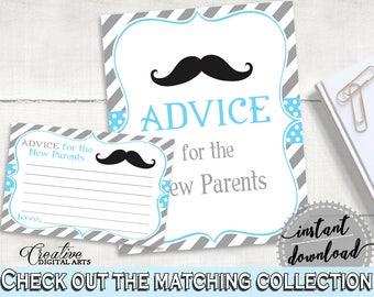Blue Gray Advice Cards, Baby Shower Advice Cards, Mustache Baby Shower Advice Cards, Baby Shower Mustache Advice Cards party theme 9P2QW