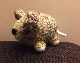 Crafty Mouse - brown fluffy plushie crochet mouse