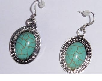 Silver plated TURQUOISE earrings for pierced ears