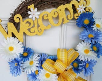 Grapevine Wreath, Spring Wreath, Yellow Blue & White Wreath, Summer Wreath, Front door Wreath, Welcome Wreath, Grapevine, Spring Wreath