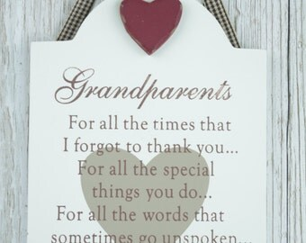 Shabby Chic Special Grandparents Heart Plaque Sign Ribbon Hanger F0250D