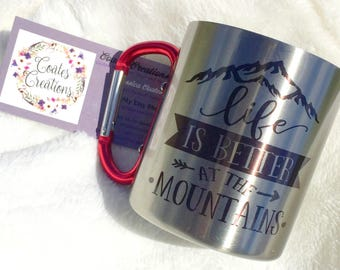 Carabiner mug//unqiue mug//stainless steel mug//better at the mountains mug//camping mug//hiking mug//carabiner handle//fathers day gift