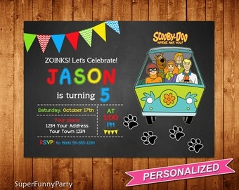 Scooby Doo Invitation, Scooby Doo Birthday Invite, Scooby Doo Printable, Personalized, Digital File