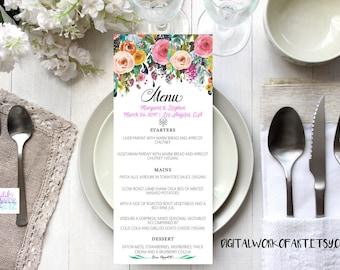 Wedding Menu Template, DIY Floral Bohemian Menu Printable,  Table Menu Card, Reception Card, Editable PDF Template, Calligraphy, boho roses