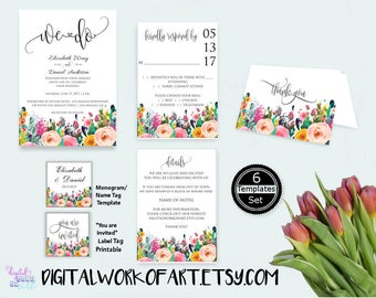 Wedding Invitation Template, DIY Floral Bohemian Wedding Invitation Set Printable,Editable Wedding Invite, PDF instant download, boho, We Do