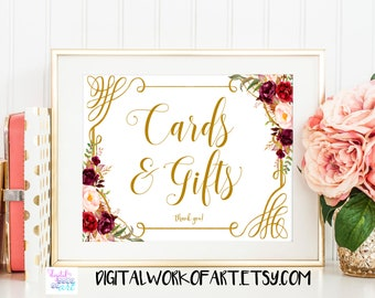 Cards and Gifts Sign,Wedding Sign,DIY Rustic Wedding Reception Sign Printable, Gift Table,floral,boho,Instant Download, PDF printable,#LC