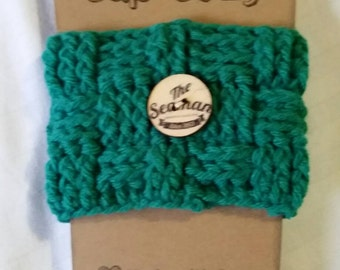 Hand crocheted coffee cup cozy. . .  Teal