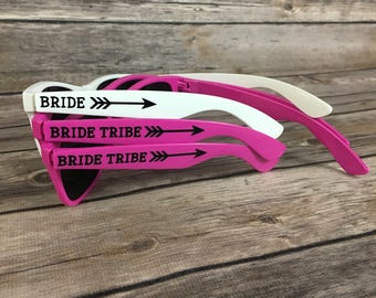 Bride Tribe ADULT Personalized Sunglasses, Bachelorette Party Favor, Bach Bash Favor, Tribal Arrow, Bridal Party Gift, Wedding Favors